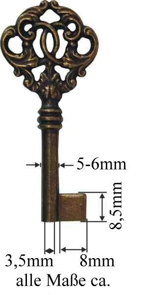 Möbel-Schlüssel Messing Lg.ca.75mm, Art.5082kl