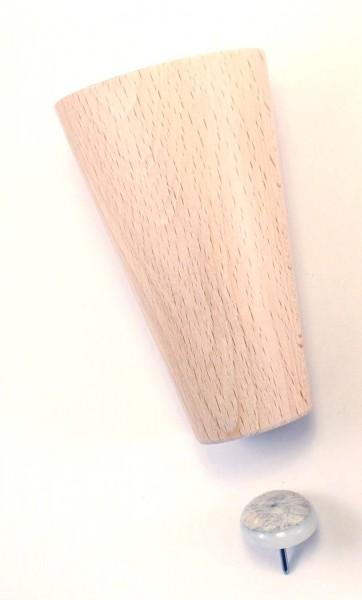 Konisches Möbelbein Buche ca.Ø34 zu 60mm: Sofa Kommode Schrank Tisch Hocker in 2 Höhen