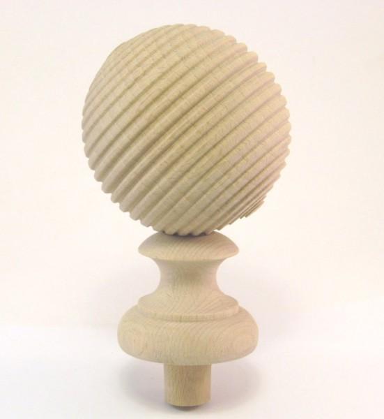 Holzzierteil Art. 65049 Zierkugel mit Rillen aus Buche. Maße: 105*80mm