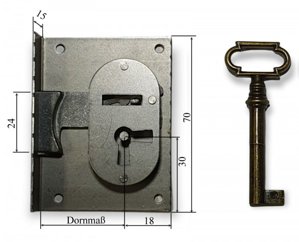 Einlasschloss Eisen roh Dornmaße 15 - 80 mm, Art.5052