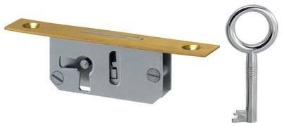 Vitrinentür- Einsteckschloß 10mm, Stulpe 13*75 mm Messing, Art. 5055 - Auslauf-Artikel!!!!