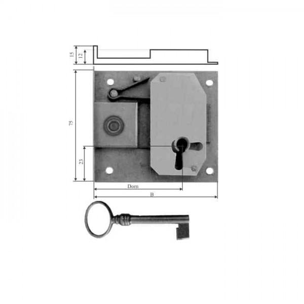 Einlasschloss Eisen roh Dornmaße 15 - 80 mm, ca.32x70mm, Art.5052