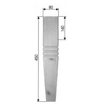 Eckiges Stuhlbein, Tischbein Art. 63115 Maße: 80x80 mm, 450mm lang
