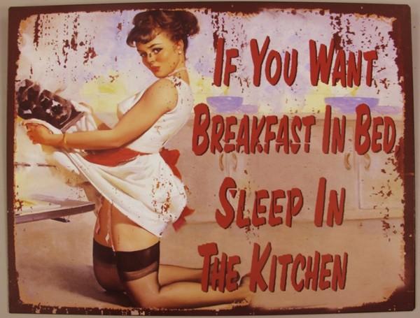 "Pin up Girl Blechschild Werbeschild ""Breakfast in Bed"" 25x33cm"