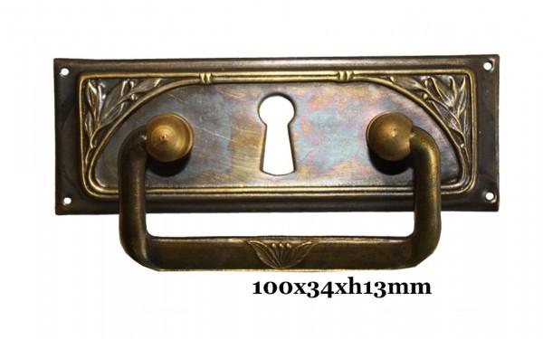Beschlag Messing patiniert mit Griff ca.100x35 mm,Art.11351