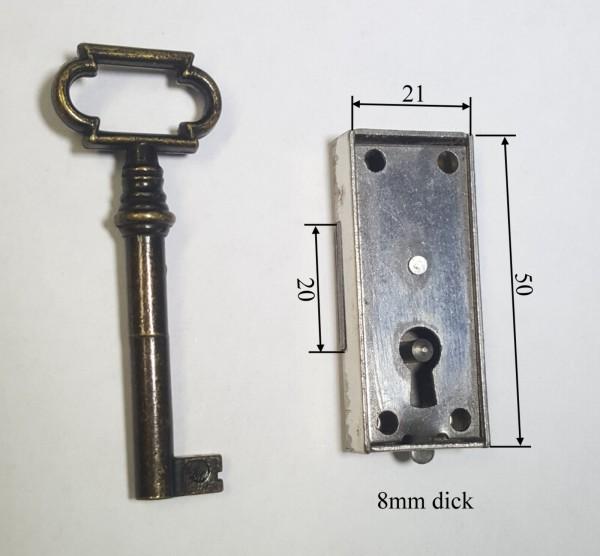 Vitrinen- Kastenschloß aus Eisen, 10mm Dornmaß, Art. 5056