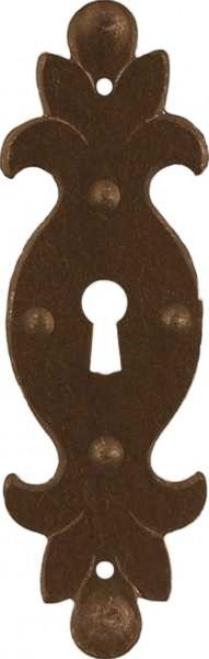 Schlüsselschild Beschlag in Eisen alt ca. 35*115 mm, Art. 1611