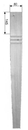 Eckiges Tischbein Art. 63112 Maße: 80x80 mm, ca. 760mm lang