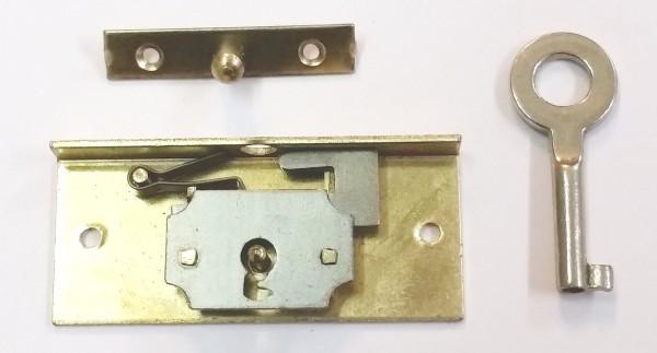 Einlass- Schatullen- Schloß aus Messing, poliert!!! ca. 15mm Dornmaß, Art. 5515