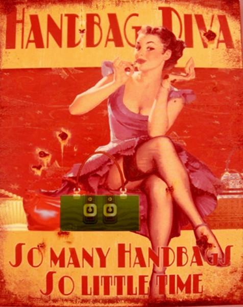 """Retro Blechschild Girl Pin up Werbeschild """"Handbag Diva"""" 20x25cm, Art.72015"""