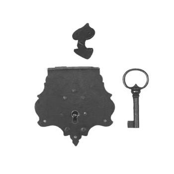 Truhenschloß mit Haken und Schlüssel - in Eisen alt, Art. 5099