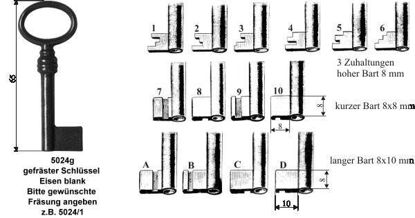 Schlüssel gefräst, ca. Länge 65mm, Art. 5024