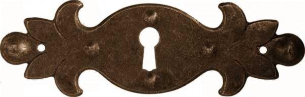 Schlüsselschild Beschlag in Eisen alt ca. 35*115 mm, Art. 1612