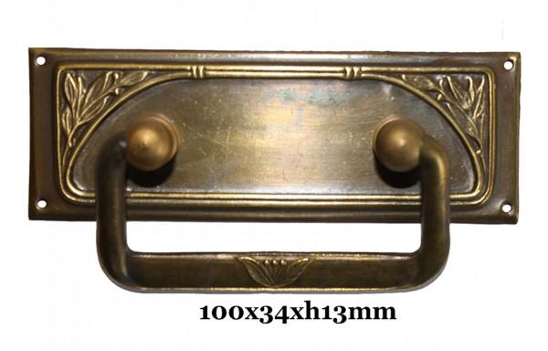Beschlag Messing patiniert mit Griff ca.100x35 mm,Art.11361
